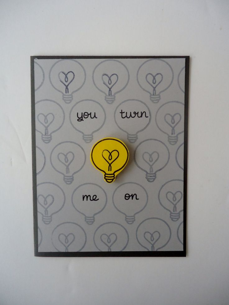 You turn me on card- Love, Anniversary - Funny and sweet - Handmade light bulb heart card - for boyfriend, girlfriend, husband, wife! by JustforUnotes on Etsy
