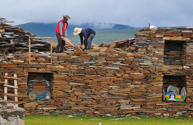 Mani Wall in Tibet