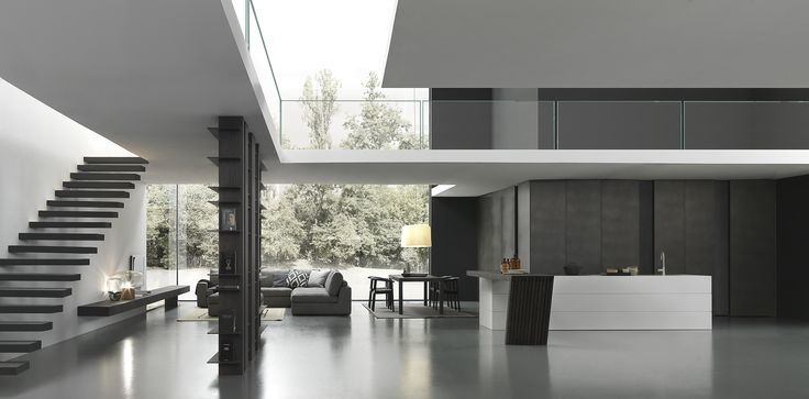 Modulnova Blade - 'Titanium Dust' 10mm thick aluminium doors for tall wall of cabinets. 'Fenix' (soft Touch) melamine for island.. Including floor to ceiling library room divider....