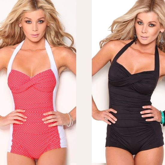 Marilyn Monroe inspired one-piece swimsuit.  so cute!  Now this is a one piece, non dress type swim suit I would wear!!