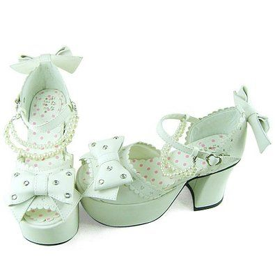Mint green kawaii peep toe heels