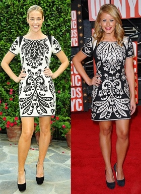 Denise Richards and Lo Bosworth wore different shades of the same French Connection dress, but who wore it better?Bosworth Wore, Fashion Face Off, Fabulous Fashion, Dresses Clash, Denis Richard, Lo Bosworth, Connection Dresses, Fashion Faceoff, Denise Richards