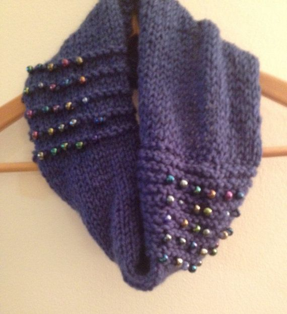 Blue beaded cowl by WestEndCo on Etsy. www.westendco.etsy.com