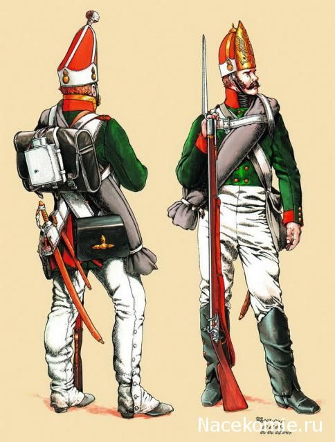 NAP- Russia: Russian 83rd Pavlovsky Guards, 1809-1813, by (artist unknown). Help eliminate poor pinning! If you know the artist and can supply a link, please update this pin. Thank you! The left figure depicts an Officer of the Grenadier Company in summer dress and the right figure a Private of the Fusilier Company in winter dress.