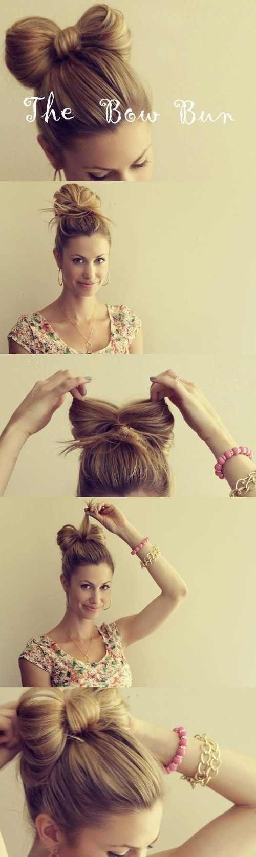 fun natural look.  good for ballet  Hair bow