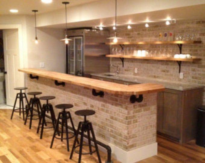 Rustic Barnwood L Bar With Wine Rack Cabinet Drawers Fridge Space Wine Cooler Space Butcher Block Countertops Custom Butcher Block Kitchen Remodel