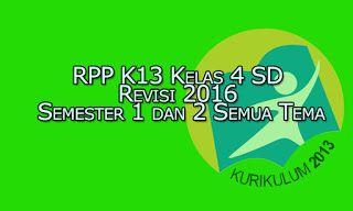 RPP K13 Kelas 4 SD Kurikulum 2013 Revisi 2016 Semester 1 dan 2 Semua Tema