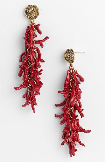 St. John Collection Coral & Crystal Pendant Earrings available at #Nordstrom