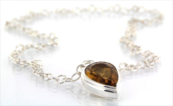 TEARDROP-GLAM* handmade jewel in polished silver, golden citrine