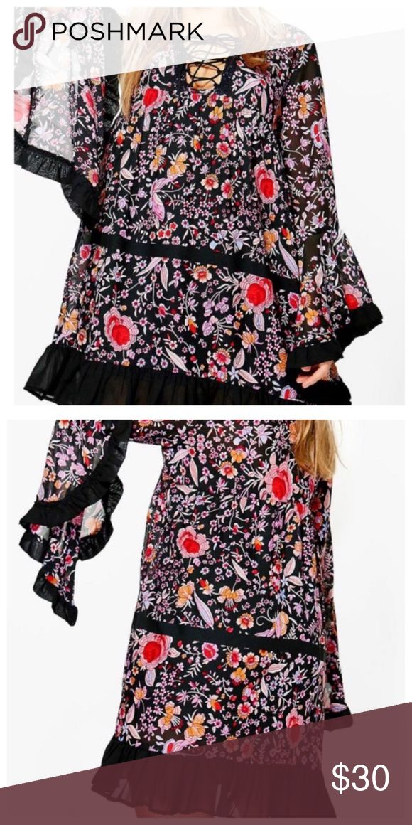 Boohoo Floral Festival Dress Brand new tags attached unworn. Multi color honestly beautiful. What you see is what you get. It's to big for me! My lost your gain! Boohoo Dresses