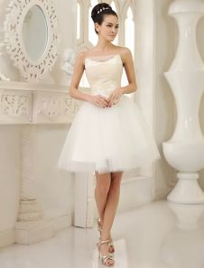 Ivory A-line Strapless Lace Knee-Length Tulle Wedding Reception Dress