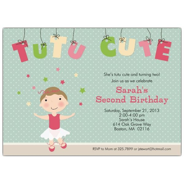 Tutu Cute Brunette Birthday Party Invitations