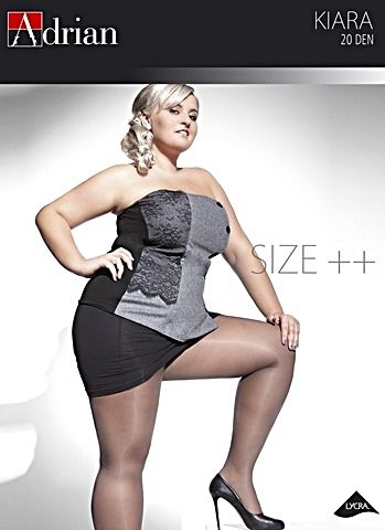 Sort tights i 20 den. Plus size, opp til 4XL.  Klassisk utseende.