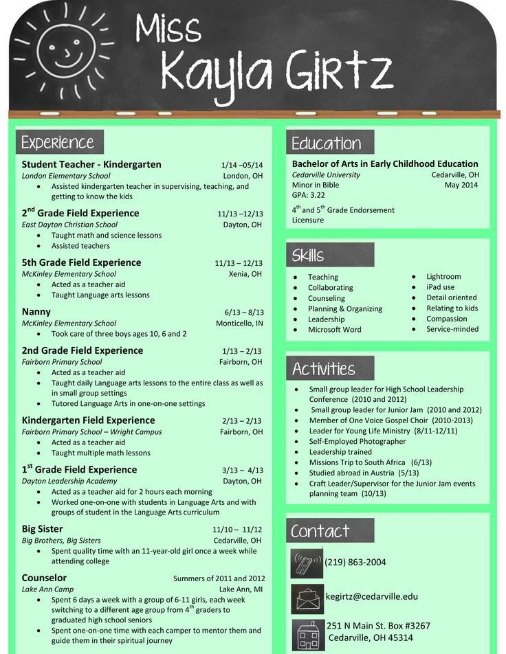 This chalkboardthemed resume is perfect for a teacher