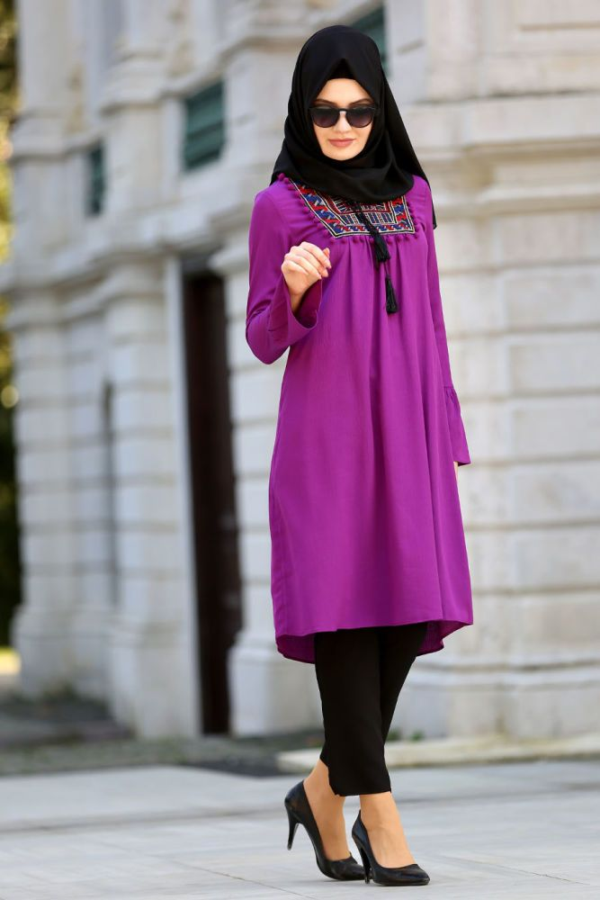 Neva Style - Purple Hijab Tunic 20871MOR
