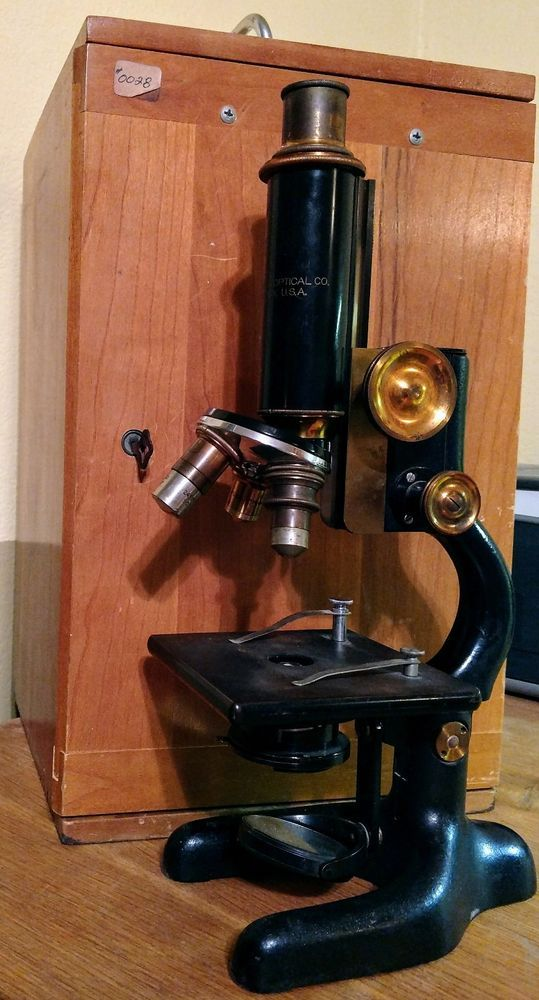 Bausch Lomb Optical Microscope Brass Cast Iron Rochester NY Box Key 1915 Lab Vtg #BaushLomb