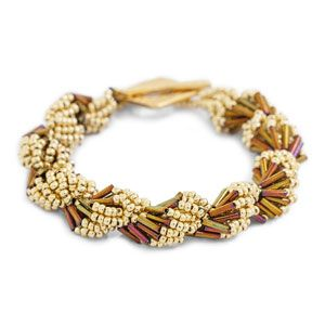 Gold Metallic Shell Game Bracelet Kit by Jill Wiseman Designs | Fusion Beads spiral rope design that mimics the graceful curves and geometry of seashells. size 11 and size 8 seed beads, bugle seed beads,