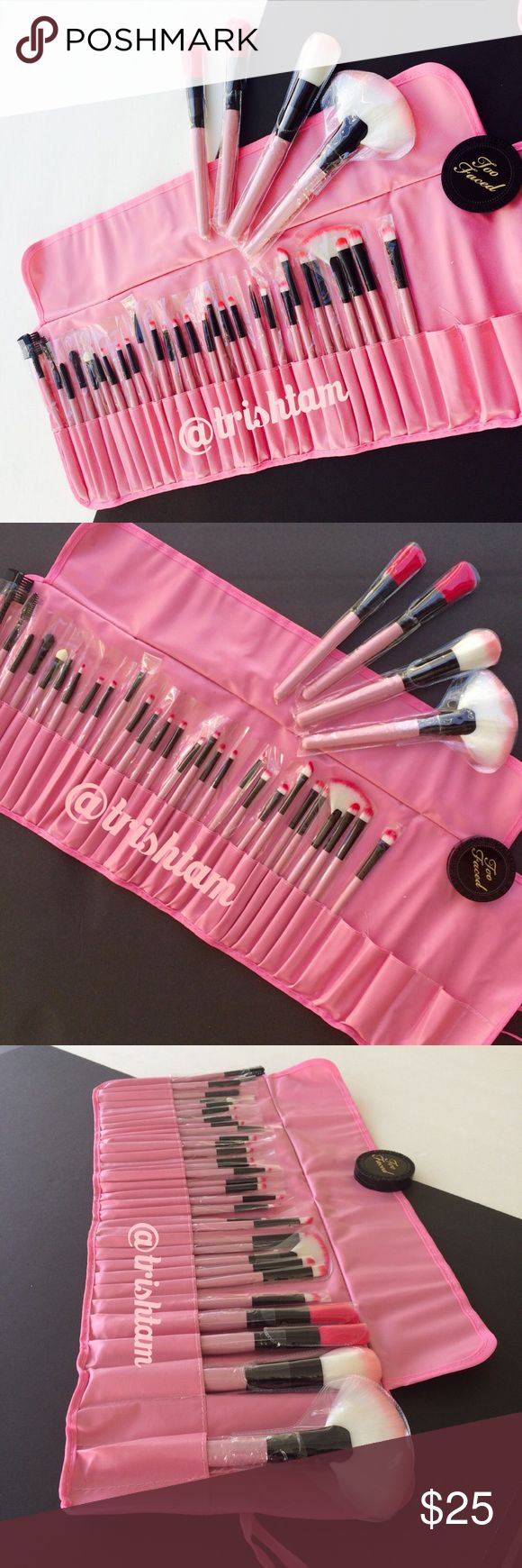 🆕🚨Final Price🚨32pcs pink makeup brushes w case Never used 32 pcs makeup brushes with case. Brushes are soft and the quality is good. Includes eyeshadow, eyeliner, lip liner, eyebrow, blush, foundation brushes and other brushes. Two faced bronzer is only for photographic purposes and is not included with purchase‼️Price is firm unless bundled.❌trades and ❌offers. 👉🏼Please place case in an open window or fan and clean brushes with baby oil if there is fresh faux leather odor👈🏼 Unbranded…