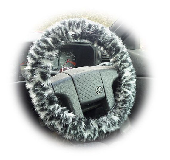 Snow leopard steering wheel cover car faux fur furry fluffy fuzzy grey white black by PoppysCrafts, £8.49