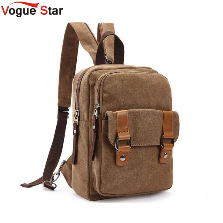 Men Male Canvas Backpack College Student School Backpack