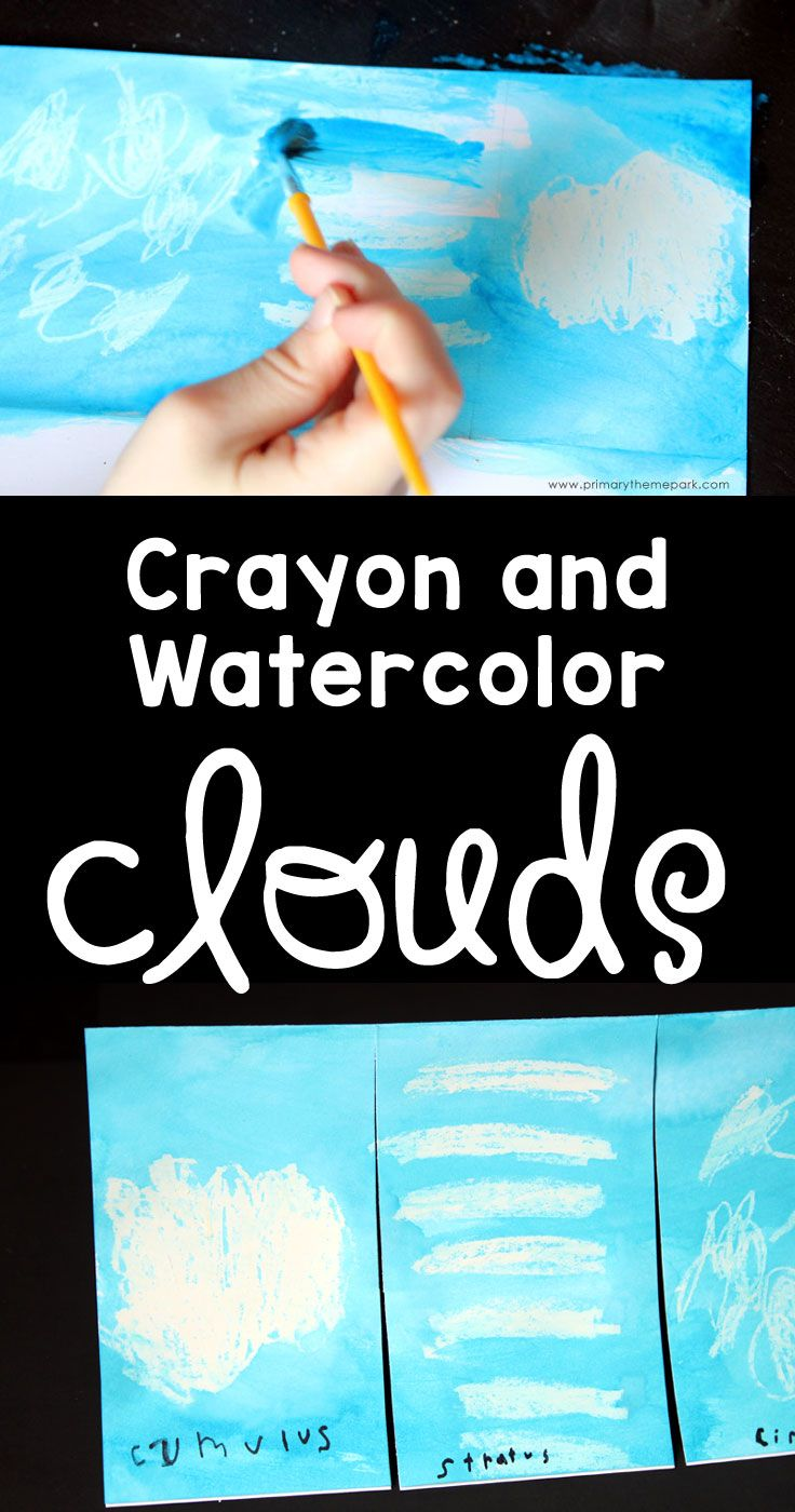 Cloud Activities for Kids :: Crayon and Watercolor Clouds Art Project