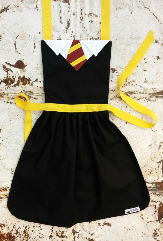 HARRY POTTER Gryffindor house Costume APRON Fits 12-24 mo 2t 3t 4 5 6 7 8 9 10 12 Dress up Birthday Party Photo Hogwarts School Halloween on Etsy, $27.99