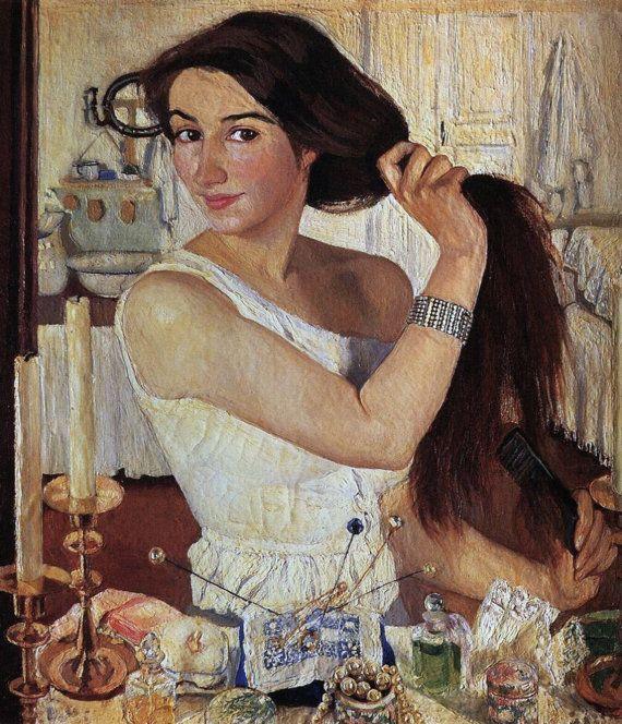 Self-portrait by Zinaida Serebriakova Home Decor Wall Decor Giclee Art Print Poster A4 A3 A2 Large Print FLAT RATE SHIPPING