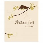 Wedding Stickers - Wedding Labels - Love Bird Sticker Labels - RECTANGULAR (4 Colors)