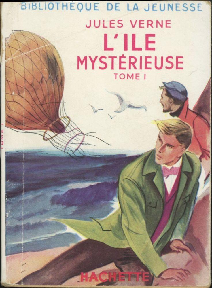 René Georges Gautier L'Île mystérieuse tome 1, Jules Verne, Hachette Bibliothèque de la Jeunesse à jaquette (c)1948 1953. souple avec jaquette illustrée et Illus intérieures.