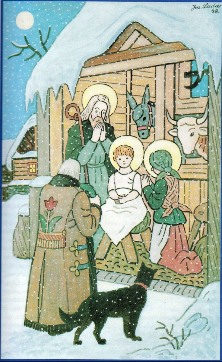 Christmas nativity scene painted by Josef Lada Czech painter