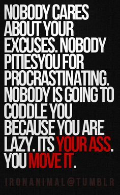 Nobody cares about your excuses. Nobody pities you for procrastinating. Nobody is going to cuddle you because you are lazy. It's YOUR ASS. YOU MOVE IT.
