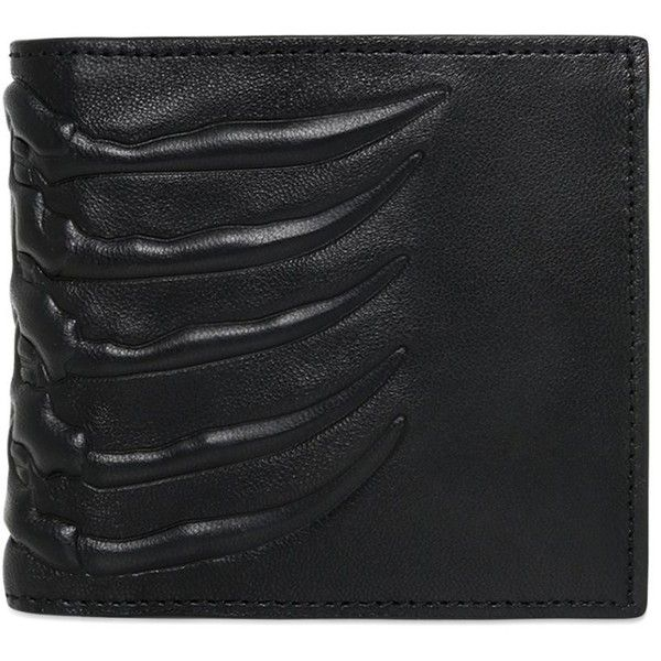 Alexander Mcqueen Men Rib Cage Leather Wallet W/ Coin Pocket (810 BRL) ❤ liked on Polyvore featuring men's fashion, men's bags, men's wallets, black, mens wallets and mens leather wallets