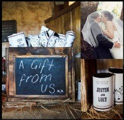 rustic wedding style - gifts for the guests - stubby holders!
