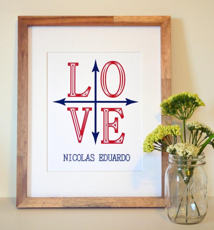 Nautical name 11 x 14 print- personalized nautical art-  love- nautical nursery print-compass print- baby shower gift- sailor theme- navy. $13.00, via Etsy.