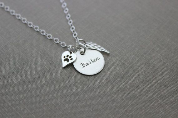 Pet Name Memorial necklace Sterling silver angel wing Dog Paw
