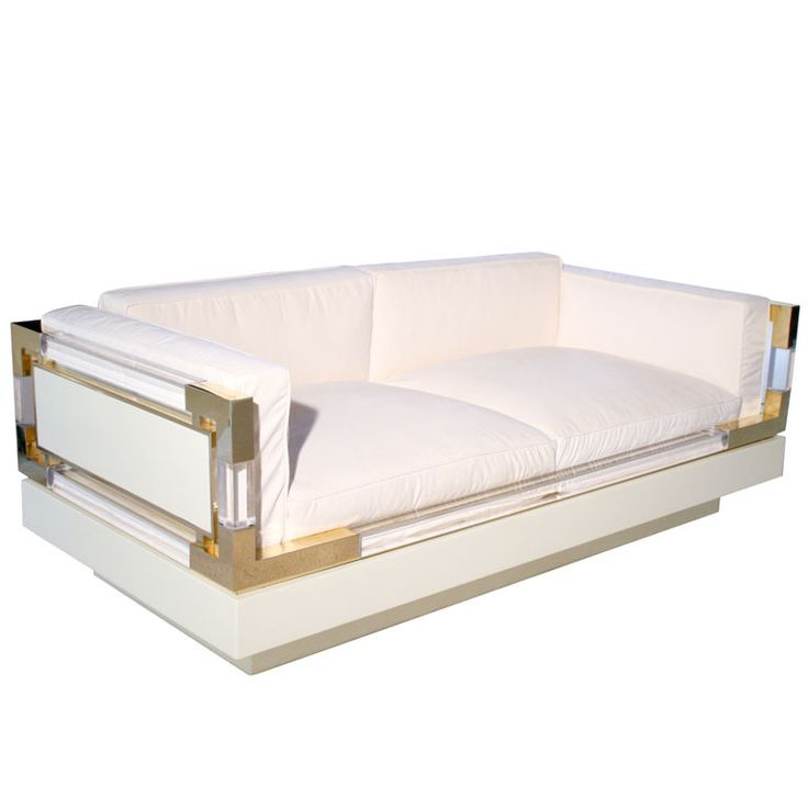 1stdibs - One of Kind Charles Hollis Jones Lucite & Brass Loveseat Sofa explore items from 1,700  global dealers at 1stdibs.com