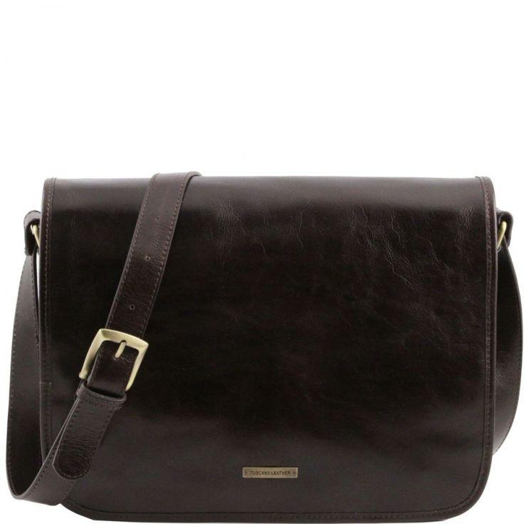 TL Messenger - One compartment leather shoulder bag - Large size