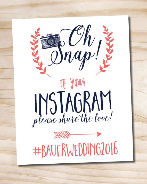 Oh Snap Instagram Navy and Coral Wedding Sign by PaperHeartCompany