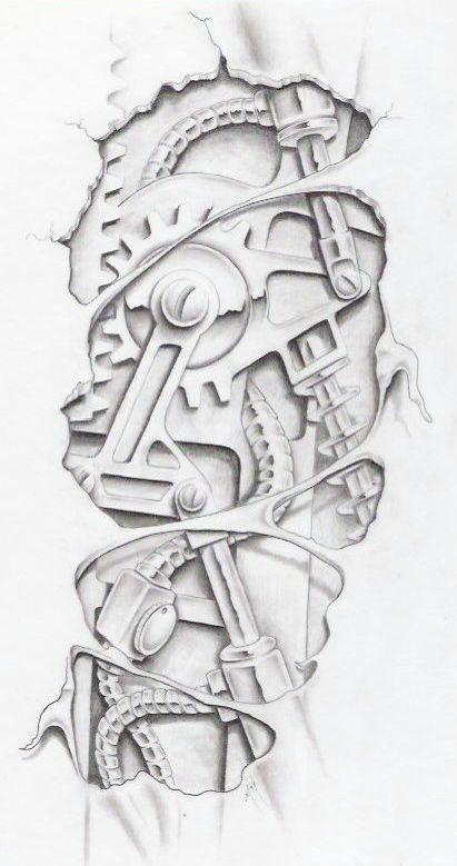 biomechanical graphite by markfellows on deviantART gears sprockets metal steam punk Tattoo Flash Art ~A.R.: