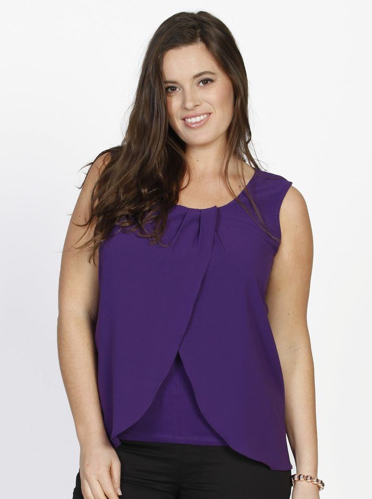 Layered Chiffon Petal Front Nursing Top - Purple, $44.95, now $29.95, features easy middle access for nursing and is great teamed with black pants or a pencil skirt for work.