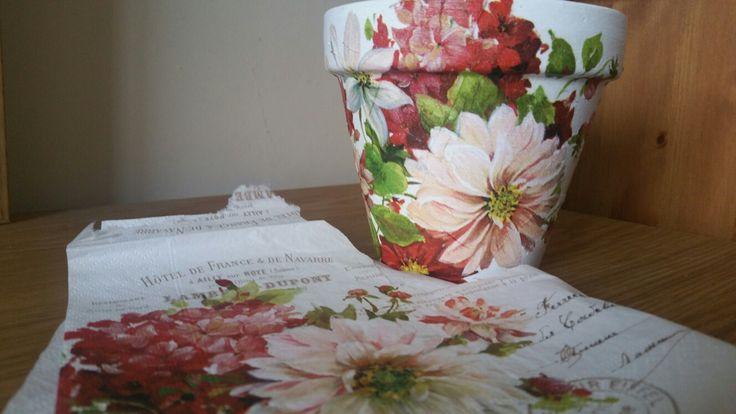 Decoupage - flower pots - napkin