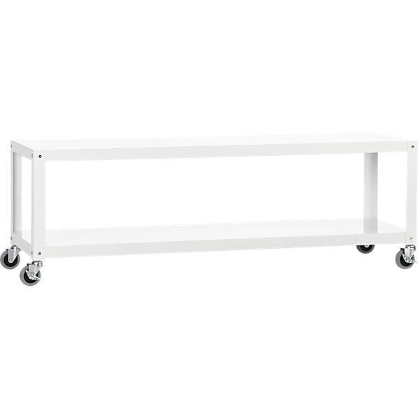 Rolling Coffee Table With Storage: Go-cart White Rolling Tv Stand/coffee Table