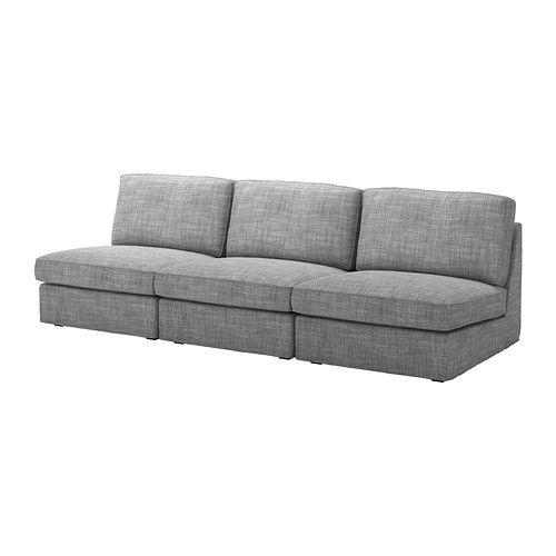 IKEA - KIVIK, 3-sits soffkombination, Isunda grå, , KIVIK är en rymlig soffserie där du sitter mjukt, djupt och med bekvämt stöd för ryggen.Sittplymåer med ett toppskikt av memoryskum; formar sig exakt efter kroppen och återfår en slät yta efter användning.Ensitssektionen kan användas fristående eller byggas ihop med fler ensitssektioner eller en schäslong ur samma soffserie.Klädseln är lätt att hålla ren eftersom den är avtagbar och kan kemtvättas.