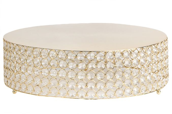 "Crystal 18"" Round Cake Stand - Gold Plated ● $59.99 ● Available from www.cvlinens.com"