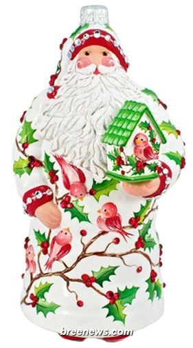 Audubon Claus (Holly, Santa) Patricia Breen Designs (Birds, Green, Holly, Pearl/white, Red, Sculpture Adornment)