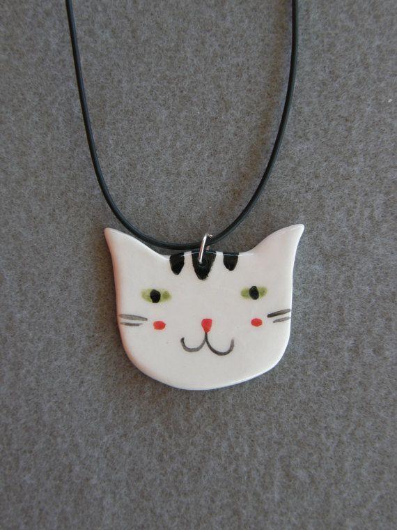 Ceramic Cat Pendant, White,Black,Striped Cat,With Black Rubber Necklace,Ceramic Necklace,Ceramic Cat,Children Jewelry,Handmade,Cat Jewelry