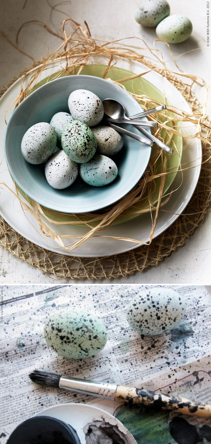 "Create little ""nest"" table settings for a sweet tablescape that celebrates Spring. Stack your plates and bowls on top of woven place mats, like SNÅR (made from palm leaf) and fill the bowl with a few speckled eggs. To create your own speckled eggs, dye eggs pale blue and splatter them with watercolor paint."