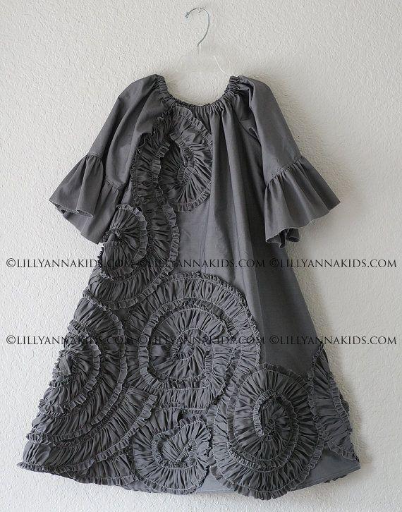 LillyAnnaKids Grey Ruffled Rosette Swing Dress by LillyAnnaKids, $38.00