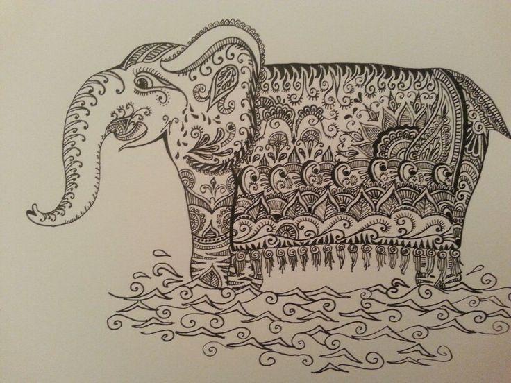 Olifant met Oost-Indische inkt