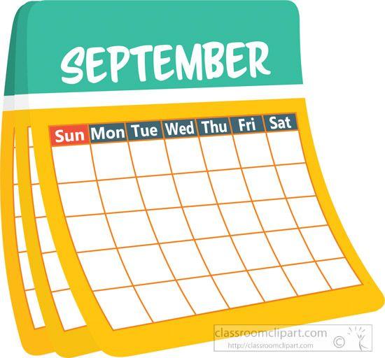 Calendar september. Monthly clipart january